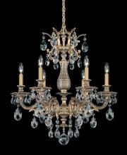 Schonbek 5676-48O - Milano 6 Light 110V Chandelier in Antique Silver with Clear Optic Crystal