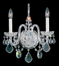 Schonbek 6807-211A - Olde World 2 Light 110V Wall Sconce In Aurelia With Clear Spectra Crystal