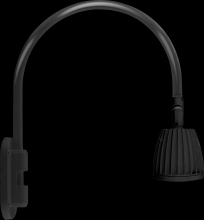 "RAB Lighting GN4LED26YB - GOOSENECK WALL 20"" HIGH, 19"" FROM WALL 26W WARM LED NO SHADE BLACK"