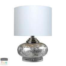 Elk Home D234-HUE-B - Ceramic Table Lamp in Frosted Ceramic with White Shade - with Philips Hue LED Bulb/Bridge