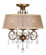 World Imports WI197390 - 15 in. 3-Light Antique Gold Flushmount Chandelier