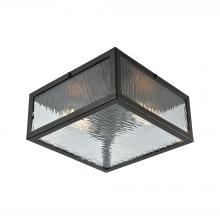 ELK Lighting 31785/2 - Placid 2-Light Flush Mount in Oil Rubbed Bronze with Clear Ripple Glass