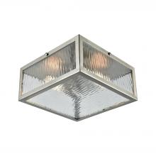 ELK Lighting 31786/2 - Placid 2-Light Flush Mount in Satin Nickel with Clear Ripple Glass