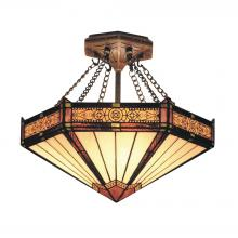 ELK Lighting 621-AB - Filigree 3-Light Semi Flush in Aged Bronze with Tiffany Style Glass