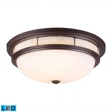 ELK Lighting 70014-3-LED - Tiffany 3-Light Flush Mount in Oiled Bronze with Glass Shade and Panels - Includes LED Bulbs