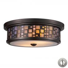 ELK Lighting 70027-2-LA - Tiffany 2-Light Flush Mount in Oiled Bronze with Mosaic Tea-stained Glass - Includes Adapter Kit