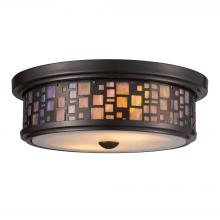 ELK Lighting 70027-2 - Tiffany 2-Light Flush Mount in Oiled Bronze with Mosaic Tea-stained Glass