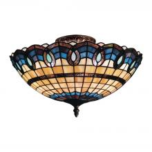 ELK Lighting 936-CB - Victorian Ribbon 3-Light Semi Flush in Classic Bronze with Tiffany Style Glass