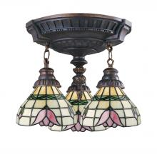 ELK Lighting 997-AW-09 - Mix-N-Match 3-Light Semi Flush in Aged Walnut with Tiffany Style Glass