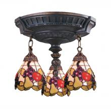 ELK Lighting 997-AW-19 - Mix-N-Match 3-Light Semi Flush in Aged Walnut with Tiffany Style Glass